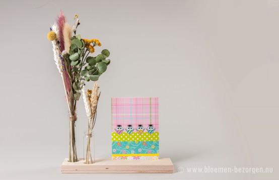 Droogbloemen met vaasjes, houder en een leuk kaartje erbij